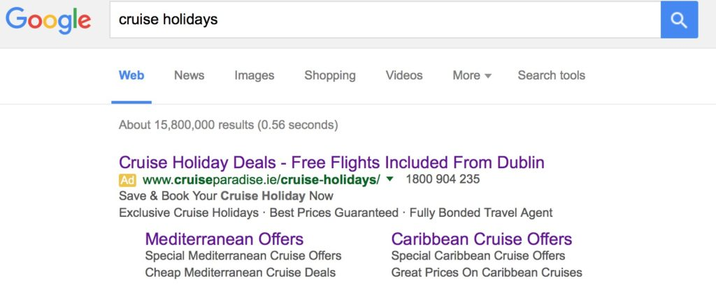 example paid search google advert